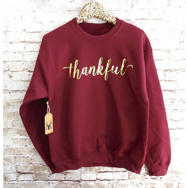 Thankful Sweatshirt Thankful Shirt Thankful Jumper Thanksgiving... (350 ARS) ❤ liked on Polyvore featuring tops, hoodies, sweatshirts, shirts, sweaters, sweatshirt, long sleeves, black, women's clothing and ruched top