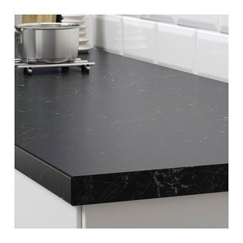 Saljan Countertop Black Marble Effect Laminate 98x1 1 2