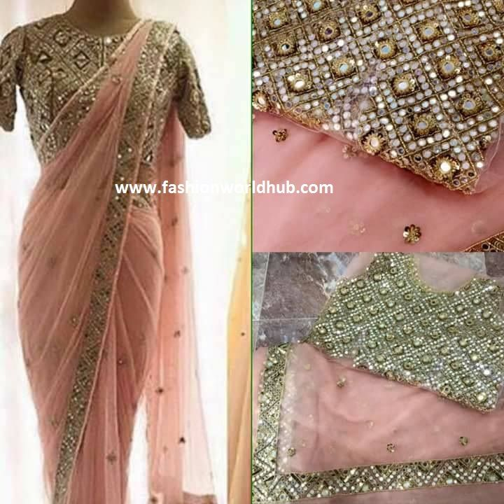 f54f1ab66d486c mirror work blouses with net sarees