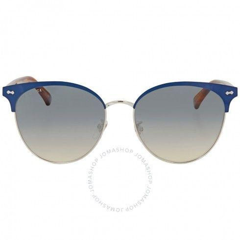 f9ef67f06e1361 Gucci Blue and Silver Gradient Cat Eye Sunglasses GG0198SK 004 58 - Gucci -  Sunglasses -