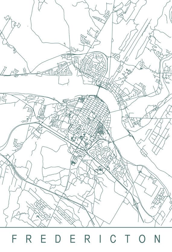 FREDERICTON MAP High Quality Giclee Print Minimalist Fredericton