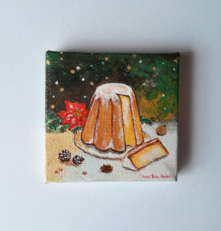 Pandoro dipinto a mano, mini dipinto acrilico, idea regalo per