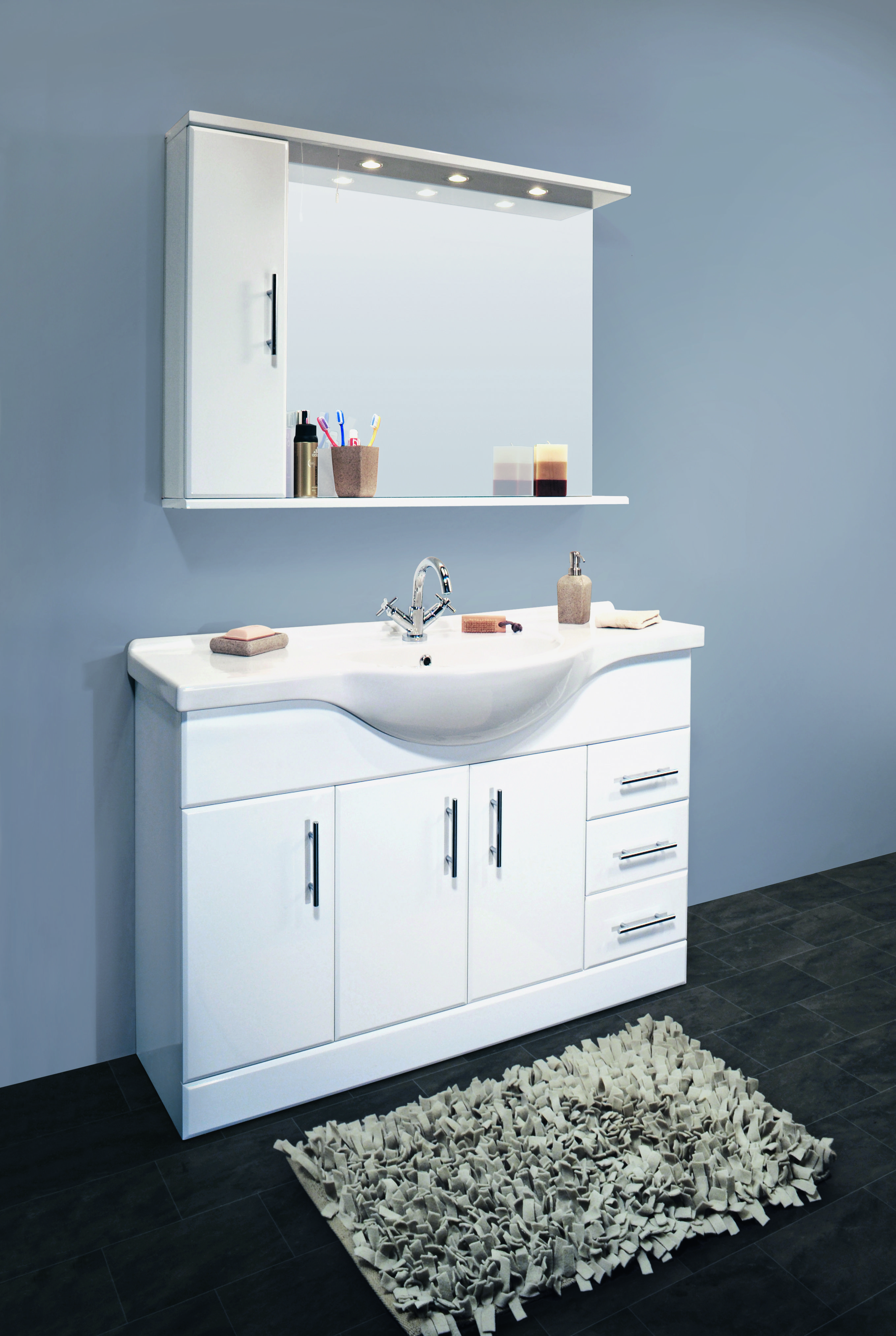 1200mm Classic white bathroom vanity basin unit. Available at http ...