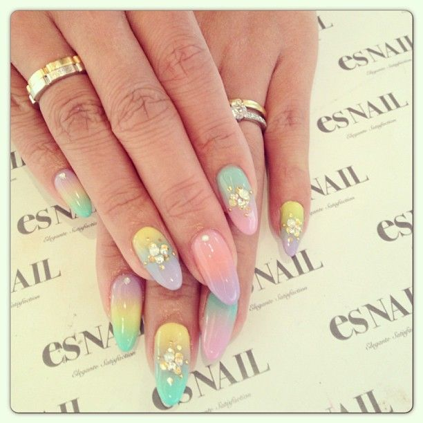 Nails, Nail Art, Nail Design, Manicure, Acrylics, Almond Nails, Rhinestones, Glitter, Studs, Pastel, Gradient, Purple, Lavender, Lilac, Yellow, Pink, Mint Green, Peach, Gold, Silver
