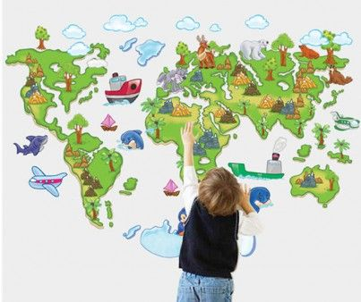 Muursticker wereldkaart kinderkamer wereldkaarten for Kinderkamer versiering