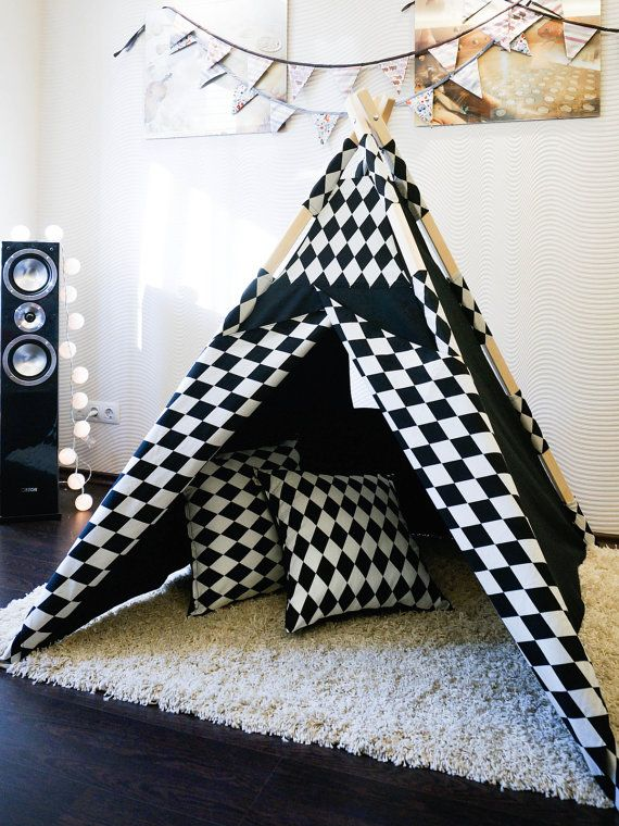 Kids Teepee Tent Play House Alice In Wonderland + Poles + 2 Pillow ...