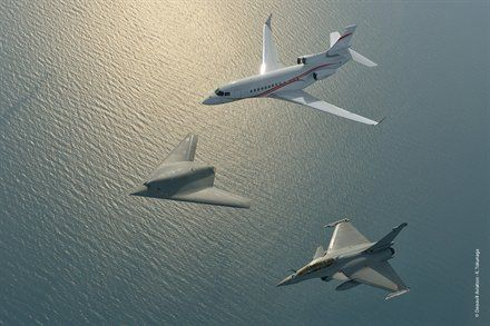 First Look: Dassault Flying Formation   Ares - a Neuron UCAV, Rafale fighter, and Falcon 7X biz jet