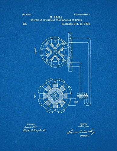 Tesla system of electrical transmission of power patent art tesla system of electrical transmission of power patent art blueprint poster malvernweather Choice Image