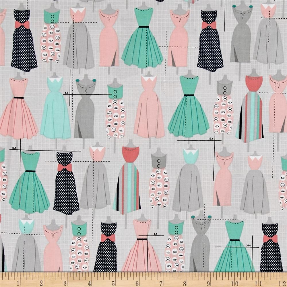Sew Dressed Up Sewing Machines Seafoam Pink Cotton Fabric By The Yard