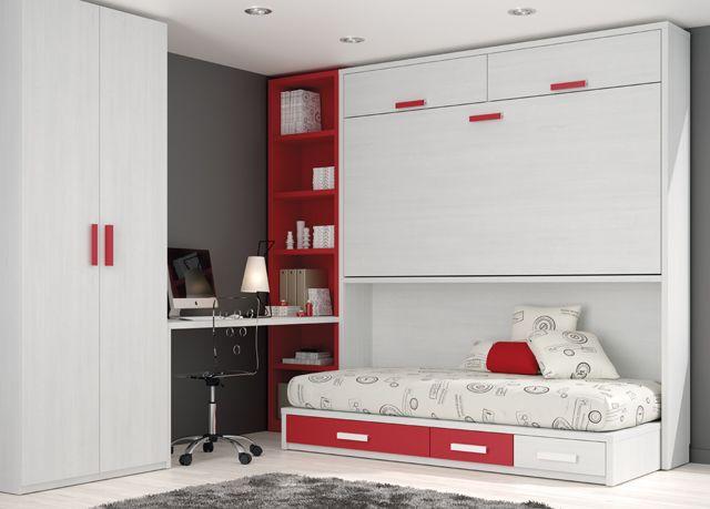 Kids touch 72 abatibles juvenil camas abatibles habitaci n juvenil con cama abatible cama nido - Habitacion juvenil cama abatible ...
