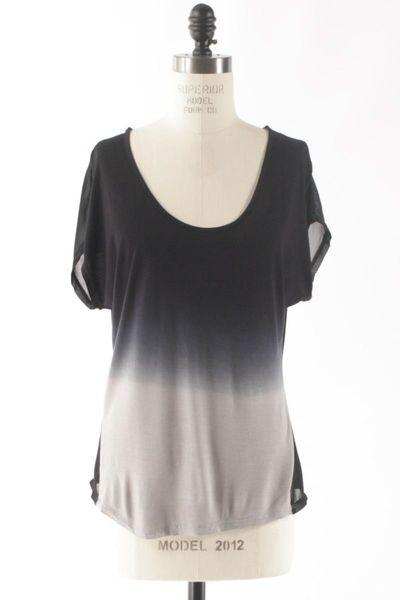 Black. Ombre. Sheer. Short Sleeves. Shirt