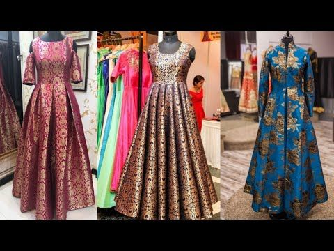 0aa67aa5297 Beautiful Brocade Indian dresses designs ideas Banarsi Brocade anarkali dress  Designs Indo western -