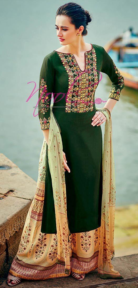 b6a8915378 Pin by kira on womens fashion | Cotton salwar kameez, Palazzo suit ...