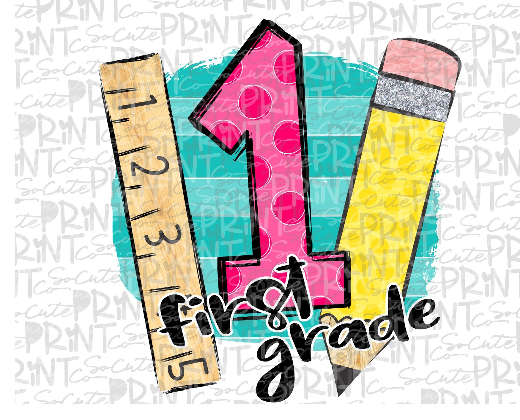 Back To School First Grade Clipart Polka Dot Pencil Png Etsy In 2021 First Day Of School Clip Art First Grade