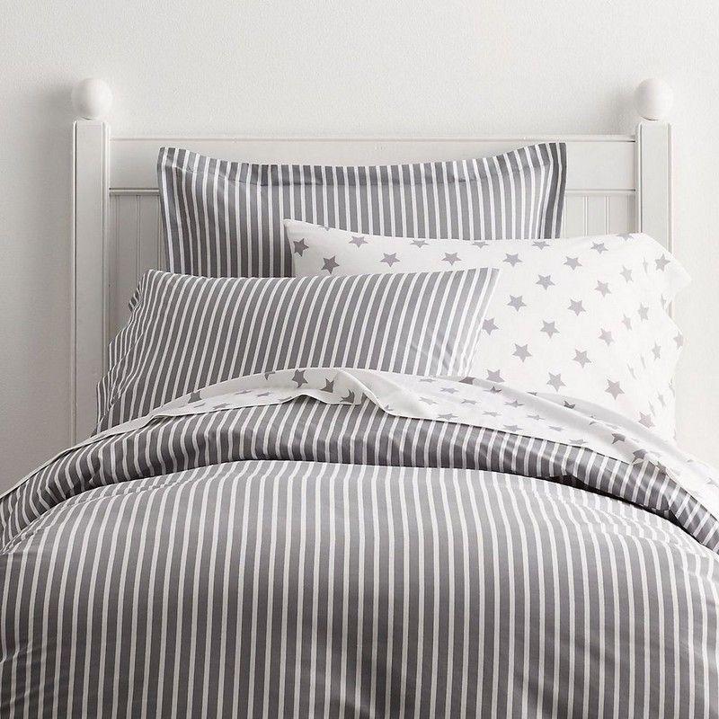 Aiden Gray Stripe Percale Bedding Duvet Cover Bed Duvet Covers Bed Linens Luxury Duvet Covers Twin