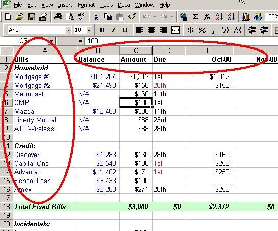 Excel Spreadsheet  Money Matters    Budgeting