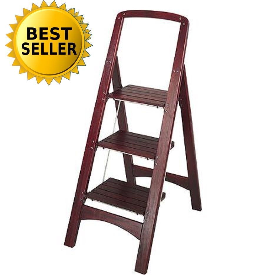 3 Step Stool Wooden Ladder Folding Stand Strong Heavy Duty