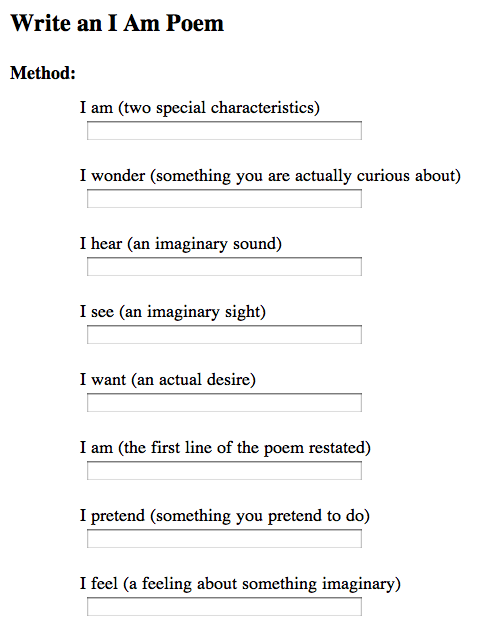how to write an i am poemgreat since im teaching a poetry lesson in a couple of weeks