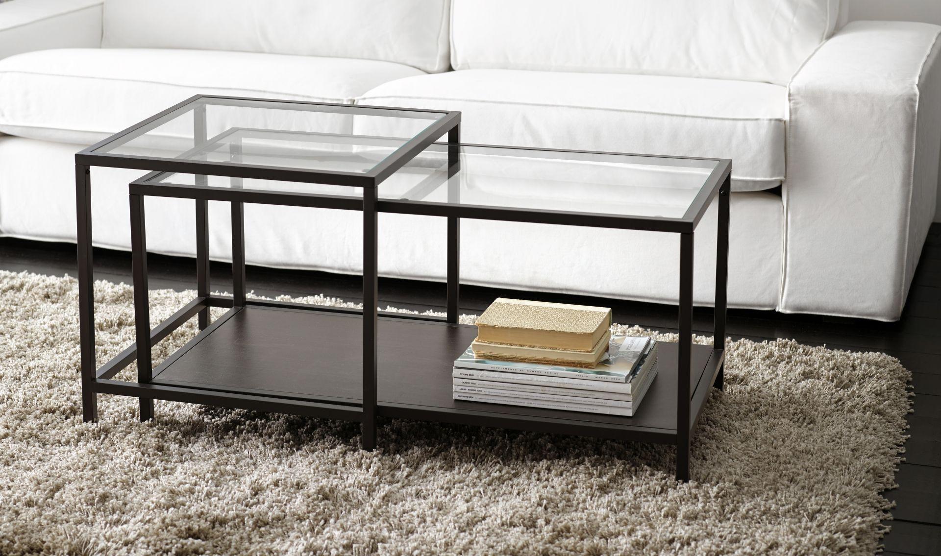 Glazen Tafeltjes Ikea.Vittsjo Bijzettafel Set Van 2 Zwartbruin Glas