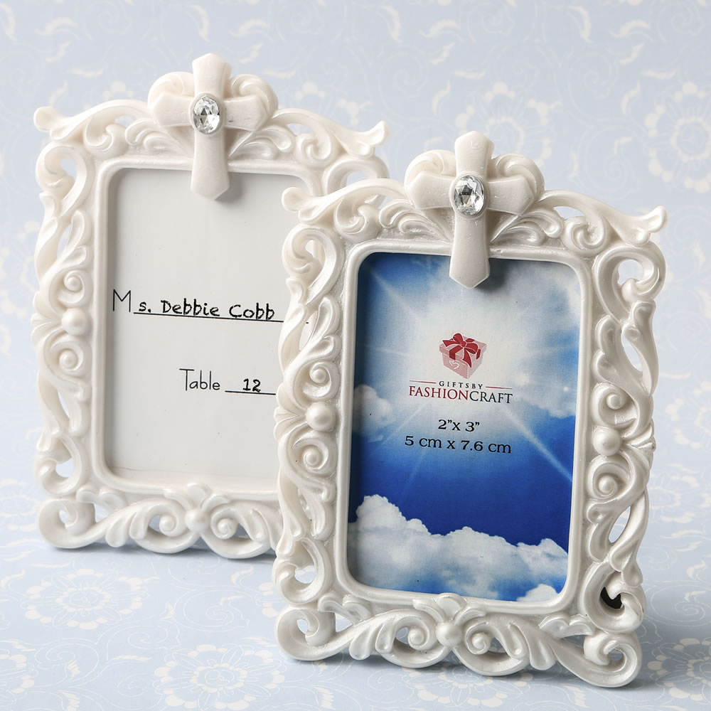 Baroque Style White Frame with Cross Detail | Religious Party Favors ...