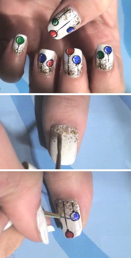Christmas Ornaments Nail Art | Cute Holiday Nail Art Ideas Christmas ...