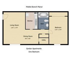 Floorplan The Communities At Middle Branch Apartments Townhomes 1 Bedroom 1 Bath 600 Square Feet Floor Plans Accessory Dwelling Unit Granny Flat
