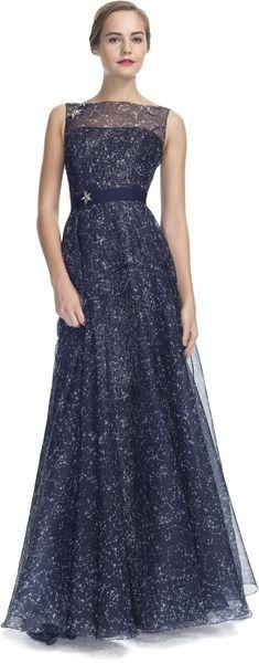 8a6c314d31a39 Carolina Herrera Constellation Organza Sleeveless Gown - Lyst ...