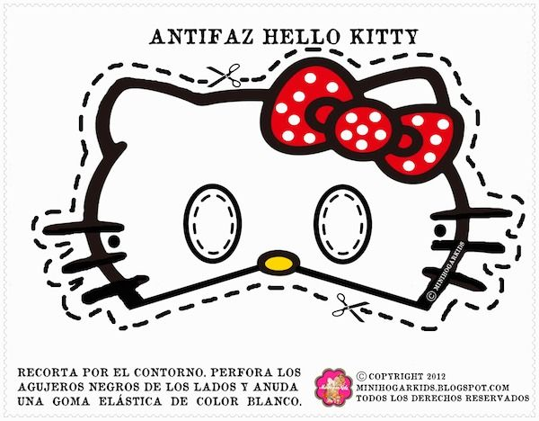 Free Printable Masks for Kids  Hello Kitty masks 4 bow color