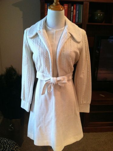 Vintage Textured Two Piece Knit Jacket With Darted A Line Dress 1960's