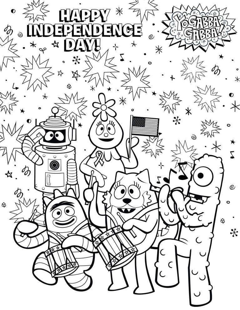 Happy independence day themed yo gabba gabba coloring sheet yo happy independence day themed yo gabba gabba coloring sheet thecheapjerseys Image collections