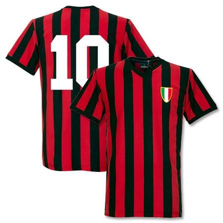 Camiseta Retro del AC Milan 1960  s más el número 10 en la espalda ... 07f5f7daa4c62