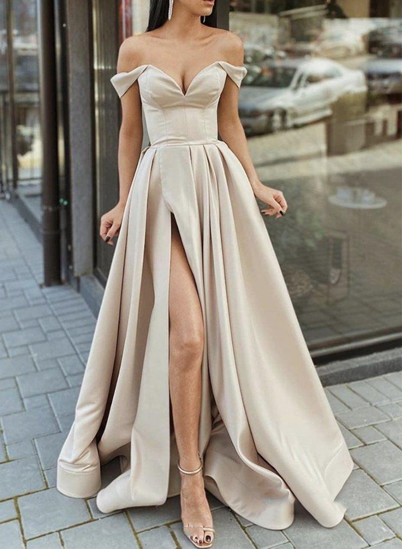 Simple Champagne Satin Long Prom Dress Champagne Evening Dress Trendy Prom Dresses Cute Prom Dresses Pretty Prom Dresses [ 1091 x 800 Pixel ]