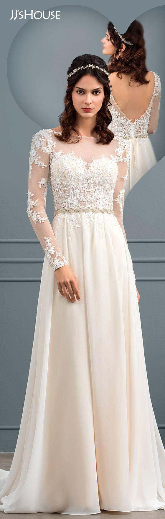 Alineprincess scoop neck court train chiffon wedding dress with