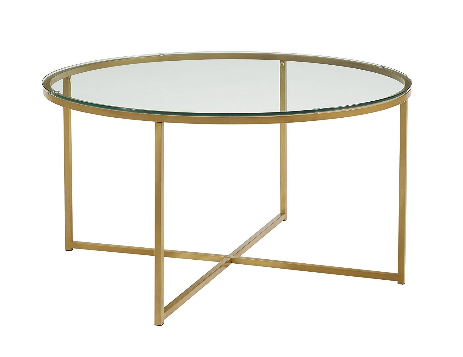Amazon Com We Furniture 36 Coffee Table With X Base Glass Gold Kitchen Dining With Images Round Glass Coffee Table Glam Coffee Table Round Coffee Table