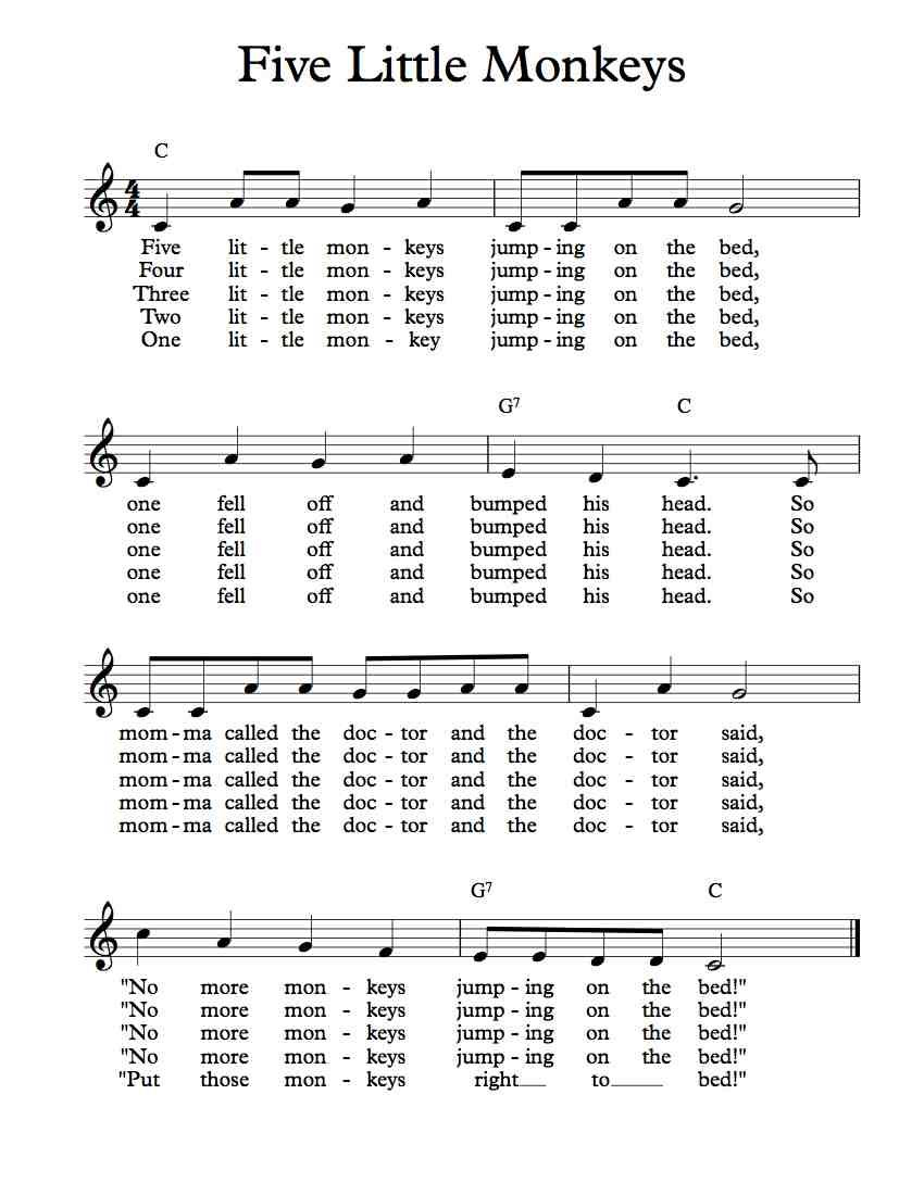 Free Sheet Music Free Lead Sheet Five Little Monkeys Jumping