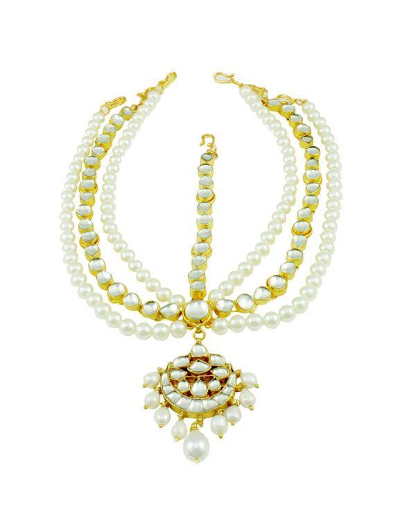 Kundan Pearl Chand Maang Patti Bridal Tikka Forehead Jewellery