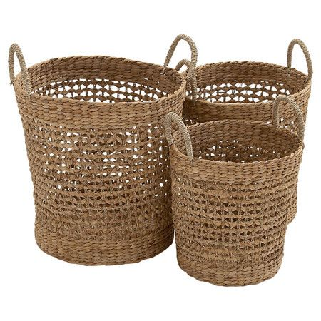 3 Piece Seagrass Basket Set Walmart Home Decor Wicker Seagrass Basket