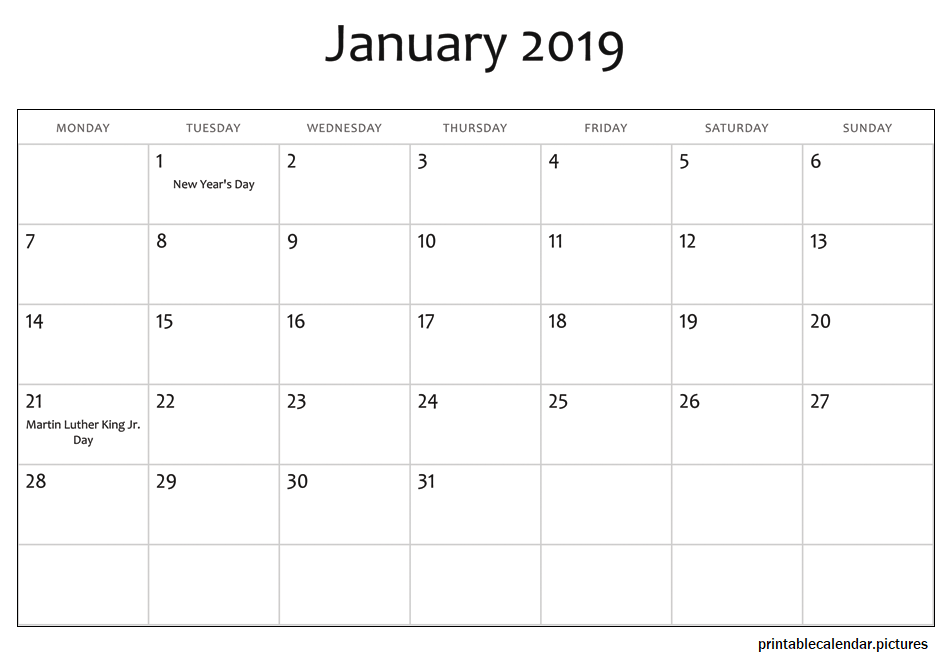 January 2019 Calendar With Holidays January 2019 Calendar With