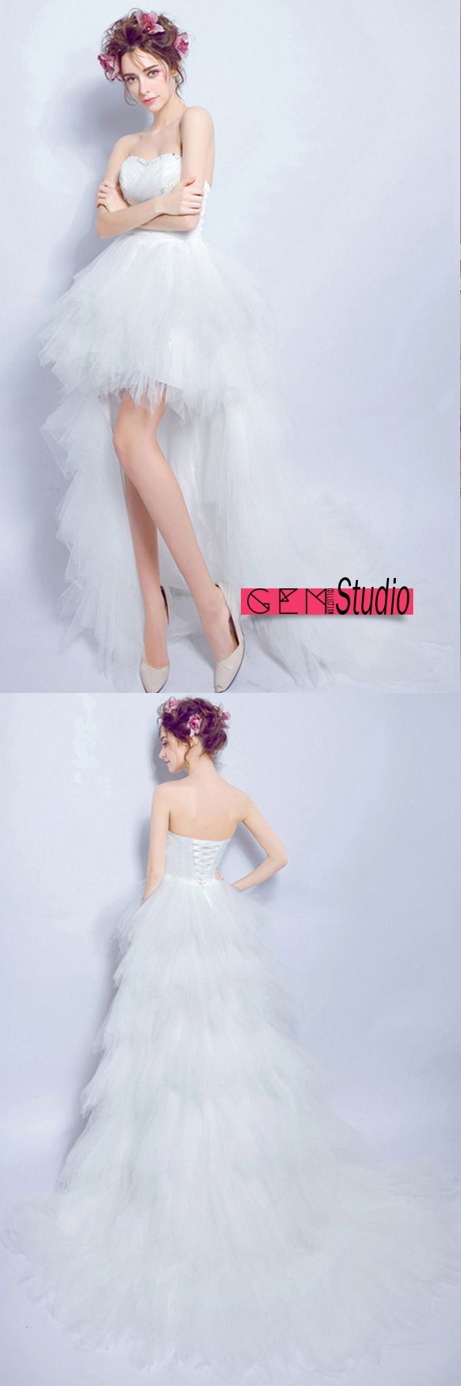 beach high low tulle wedding dresses with train sexy a line