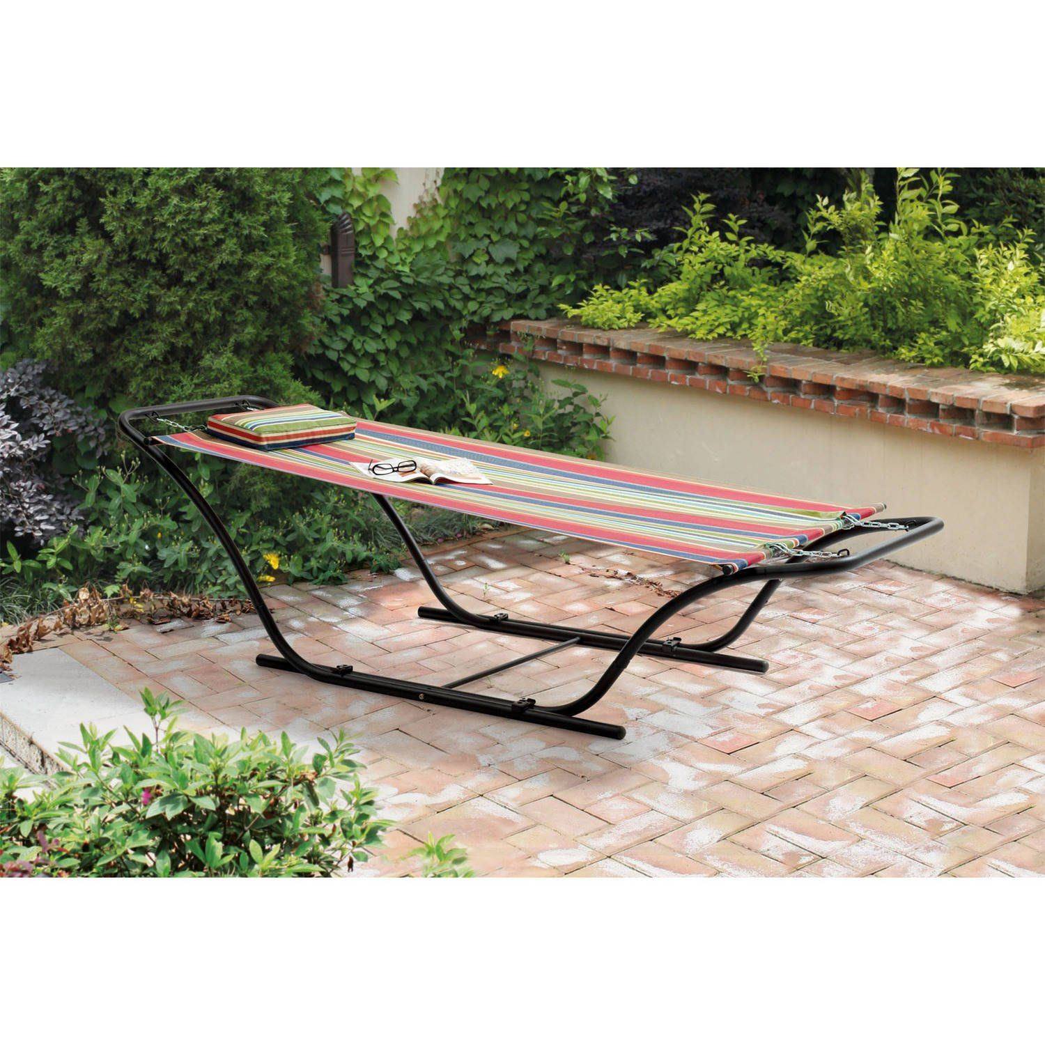 Red outdoor folding hanging sling hammock with stand powder coated