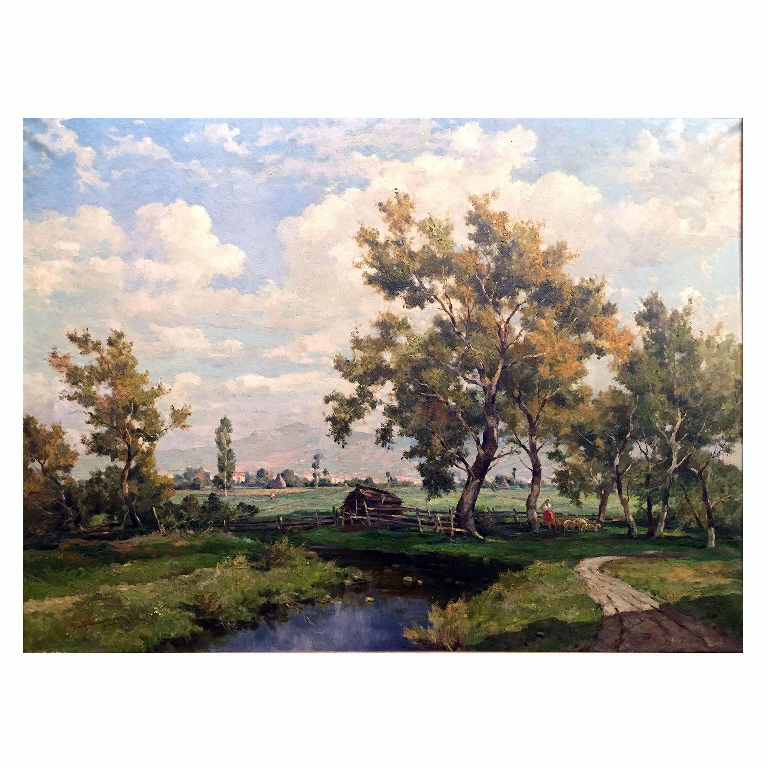 Ilio Giannaccini, Paesaggio agreste con canale, 1950 circa dipinto ...