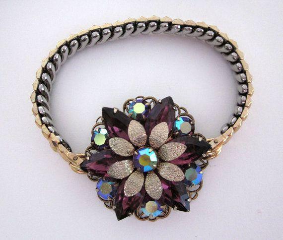 Repurposed Purple Rhinestone Bracelet, Vintage Rhinestone Flower, Upcycled Watch Band Bracelet, OOAK Assemblage Jewelry - JryenDesigns #vintagewatches