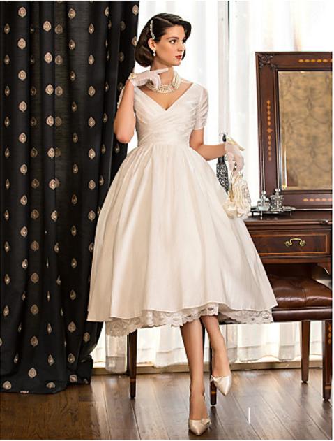 705796b77ef Lanting Bride A-line   Princess Petite   Plus Sizes Wedding Dress-Tea-length  V-neck Taffeta