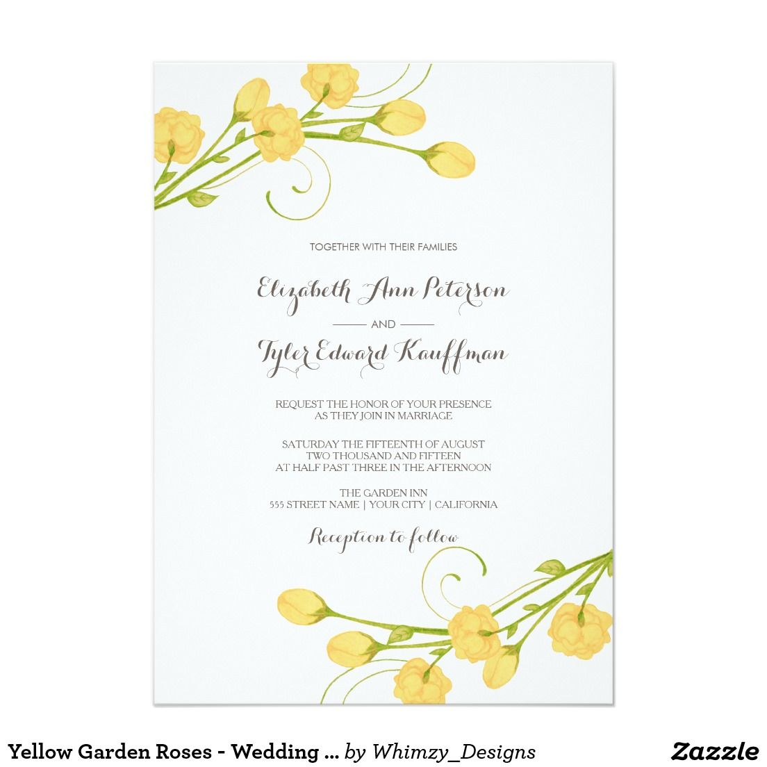 Yellow garden roses wedding invitation rose wedding garden yellow garden roses wedding invitation stopboris Gallery