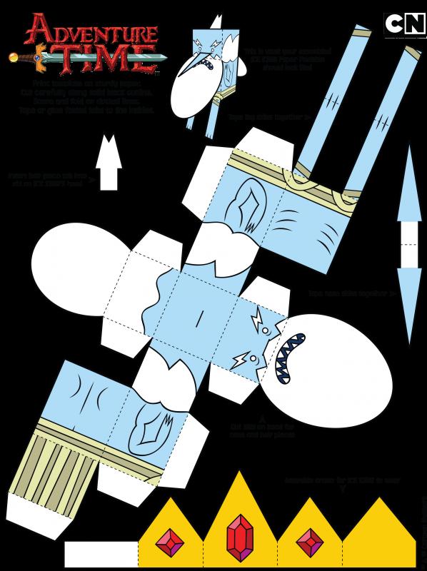 Iceking Papercutout 1 598x800 Adventure Time Birthday Parties Paper Dinosaur