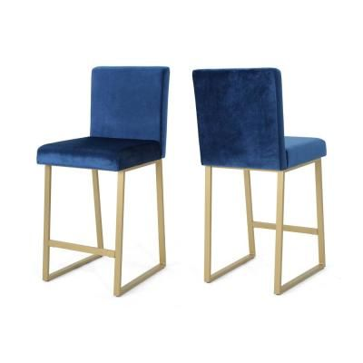 Noble House Toucanet Modern 26 75 In Navy Blue Velvet Barstools Set Of 2 Navy Blue Brass In 2020 Bar Stools Floor Seating Furniture