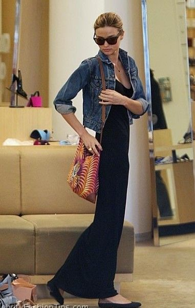 The 40's Maxi dress and denim jacket will always be hott!