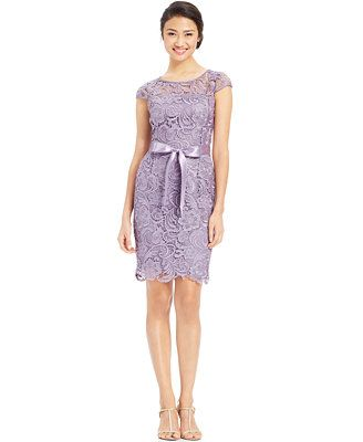 ad1b9ec7c1a Adrianna Papell Cap-Sleeve Illusion Lace Sheath... there is a dark purple  version of this as well.  189