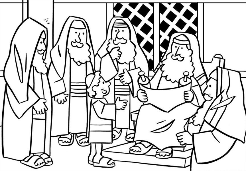 Jesus In The Temple Coloring Page With Images Bible Crafts