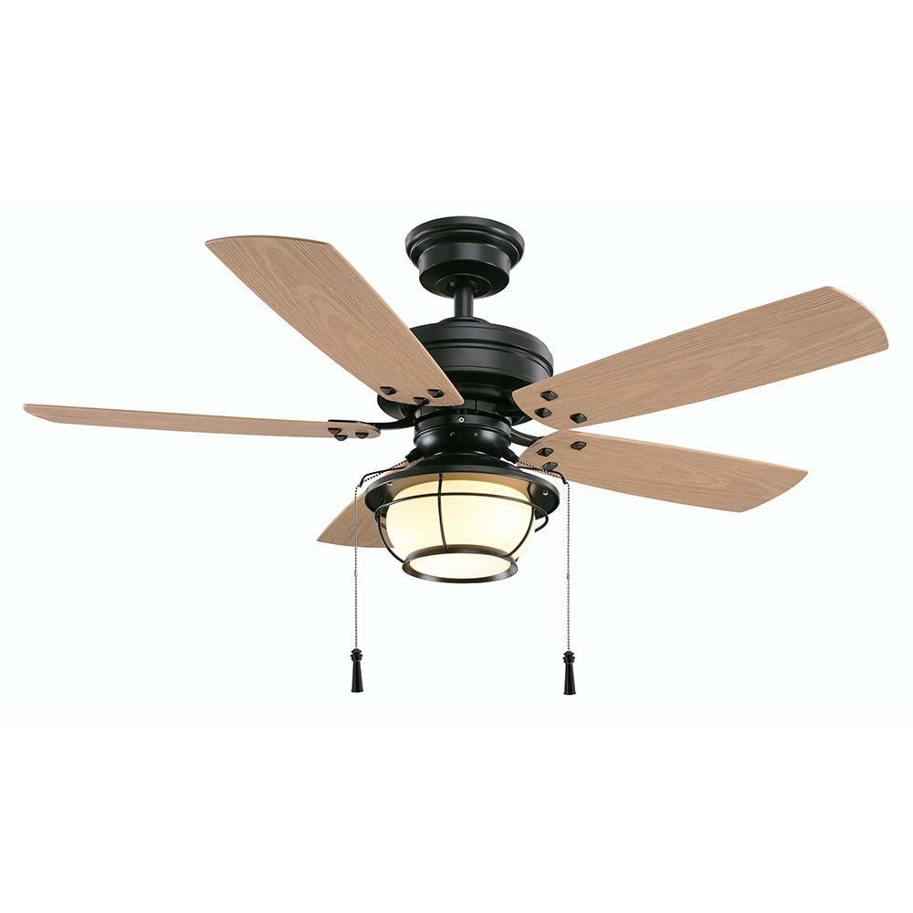 Hampton Bay North Sline 46 In Natural Iron Indoor Outdoor Ceiling Fan With Light Kit 51546 The Home Depot